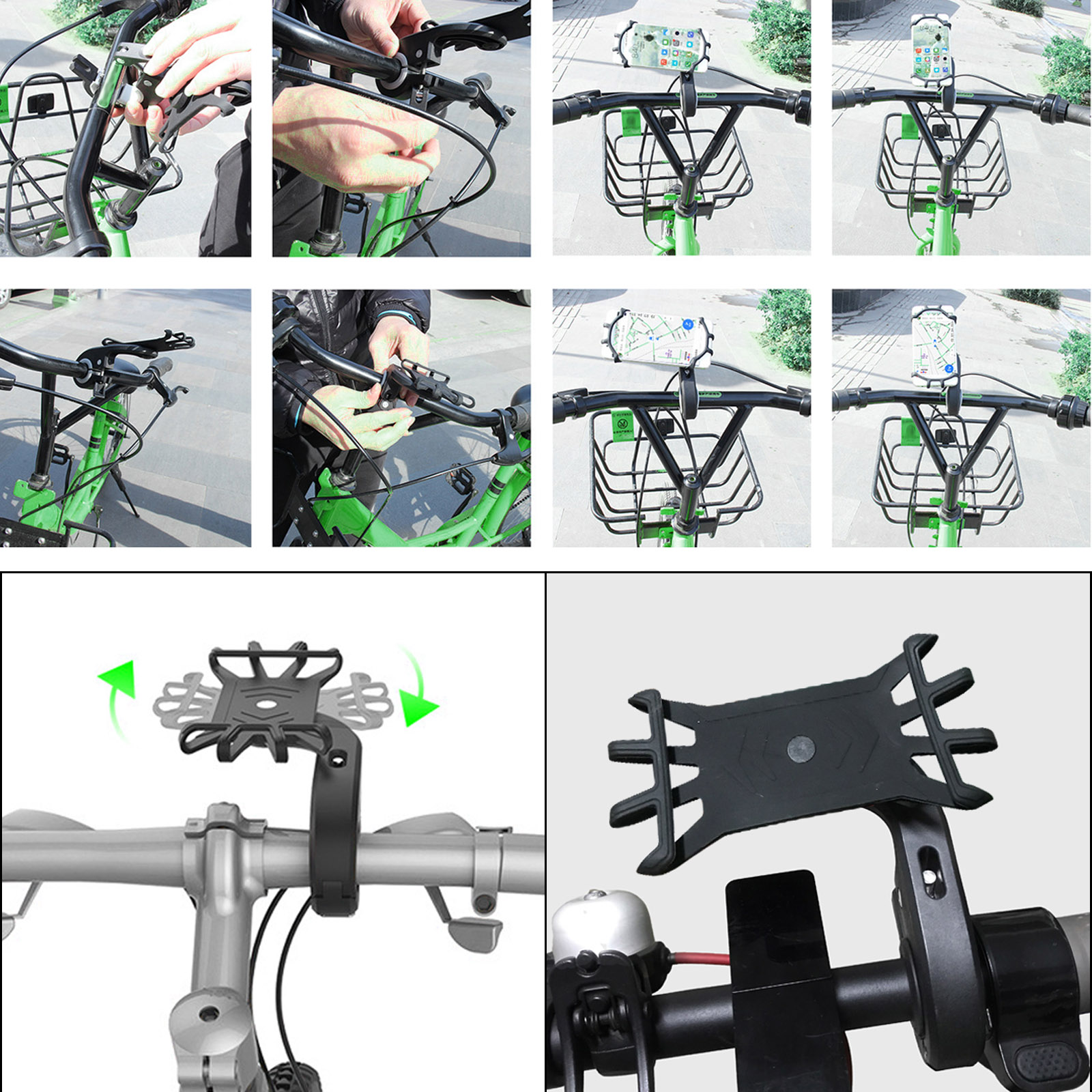 Universal Bicycle Mobile Phone Holder for Mobile Cell Phone GPS Silicone Motorcycle Bike Cycling Handlebar Stand Support Bracket