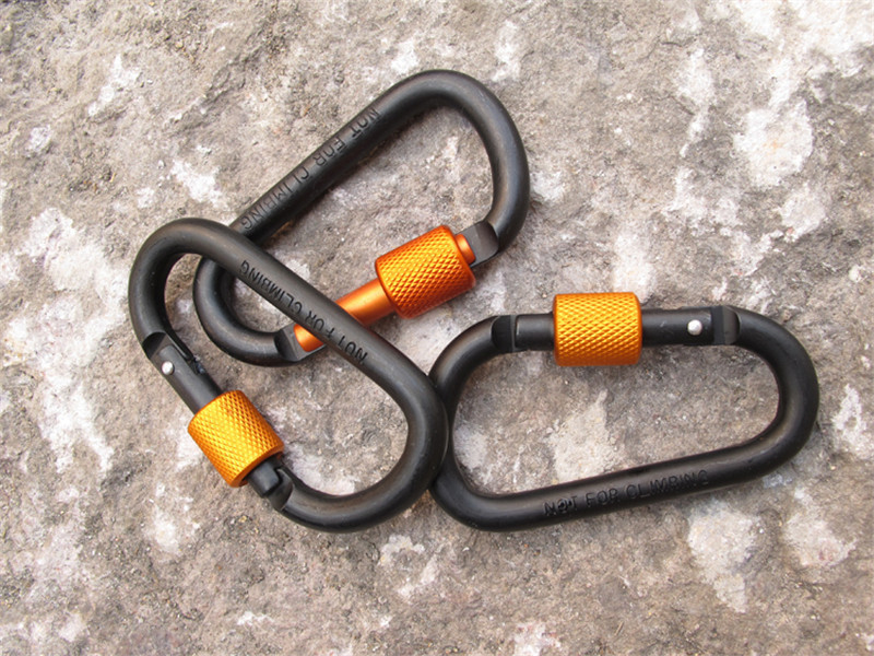 8CM Bold Carabiner Aluminum Alloy Carbine D-Ring Carbines Hanging Buckle Metal Backpack Buckle With Lock (26)