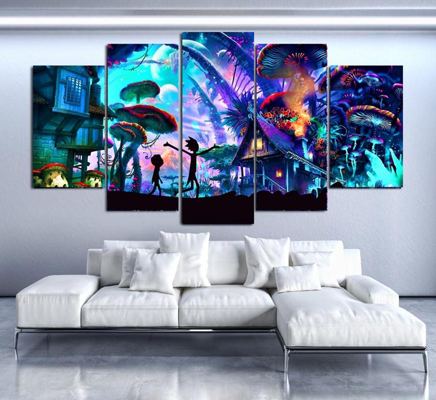 Decoraci-n-de-la-pared-Lienzo-CONJUNTO-SHROOM-MUNDO-RICK-Y-MORTY-Pared-Arte-HD-Imprime (3)