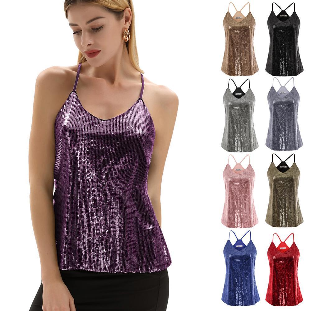 Womens Velvet Vest Tank Tops V Neck Sleeveless Strappy Shirts Mini Cami Tops