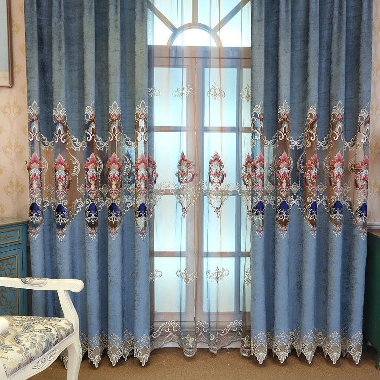 High-grade Double-sided Chenille Velvet Curtains for Living Dining Room Bedroom Embroidered Window Screen European Curtain