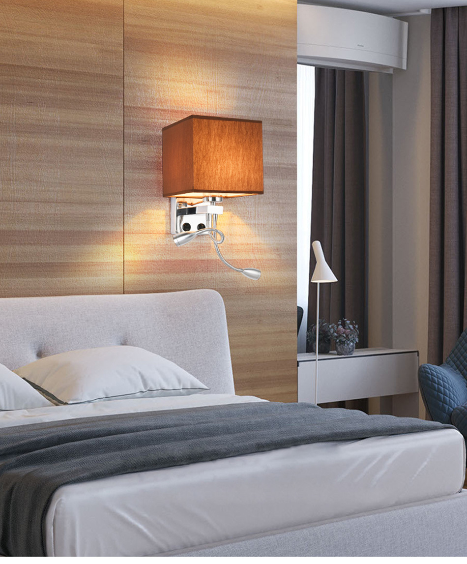 Modern Indoor LED Wall Lamp Bedside Bedroom Applique Sconce With Switch USB E27 Bulb Interior Headboard Home Hotel Wall Lights (2)