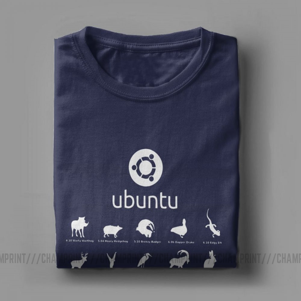 Funny Ubuntu Linux Releases T-Shirts for Men Crew Neck Cotton T Shirt Distro Linux Debian Short Sleeve Tees Printed Clothes
