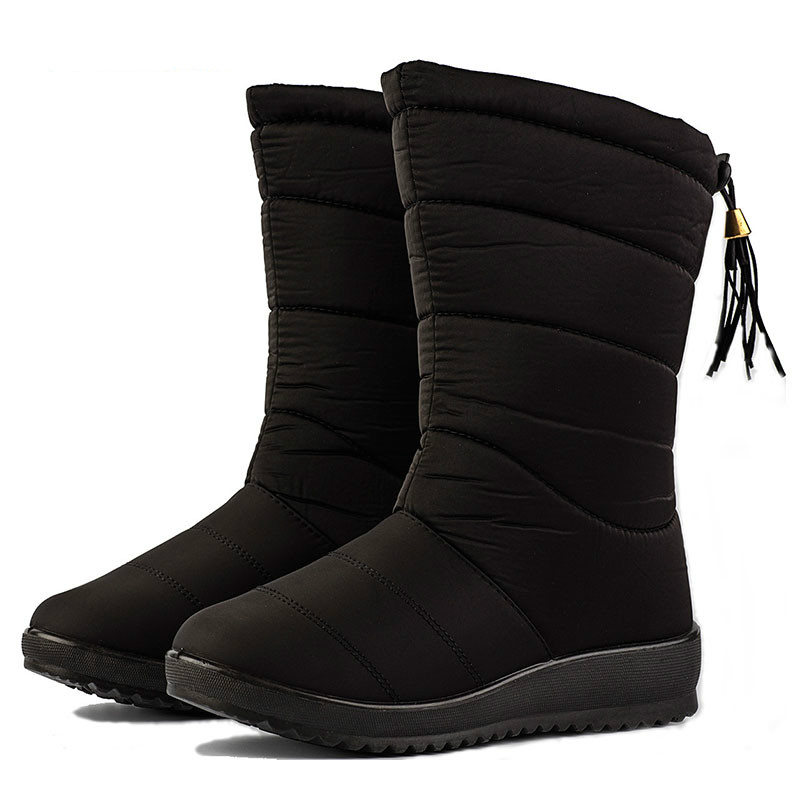 Snow-Boots-Women-Down-Mid-calf-Boots-Black-Fashion-Boots-With-Tassel-Ladies-Waterproof-Winter-Shoes