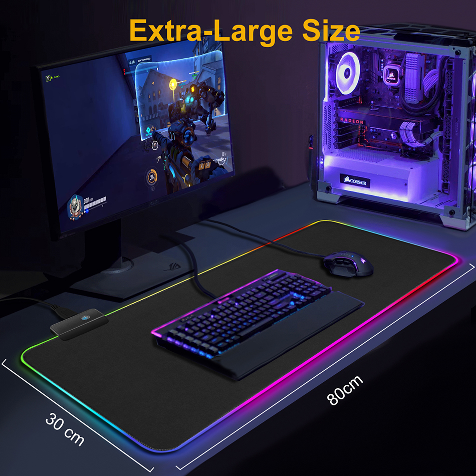 Computer Hardware - RGB Mouse Pad Gaming Mouse Pad Large Mousepad XXL Computer Mousepad RGB XL Mouse Pad Gamer Mousepad Keyboard Pads USB Mouse Mat