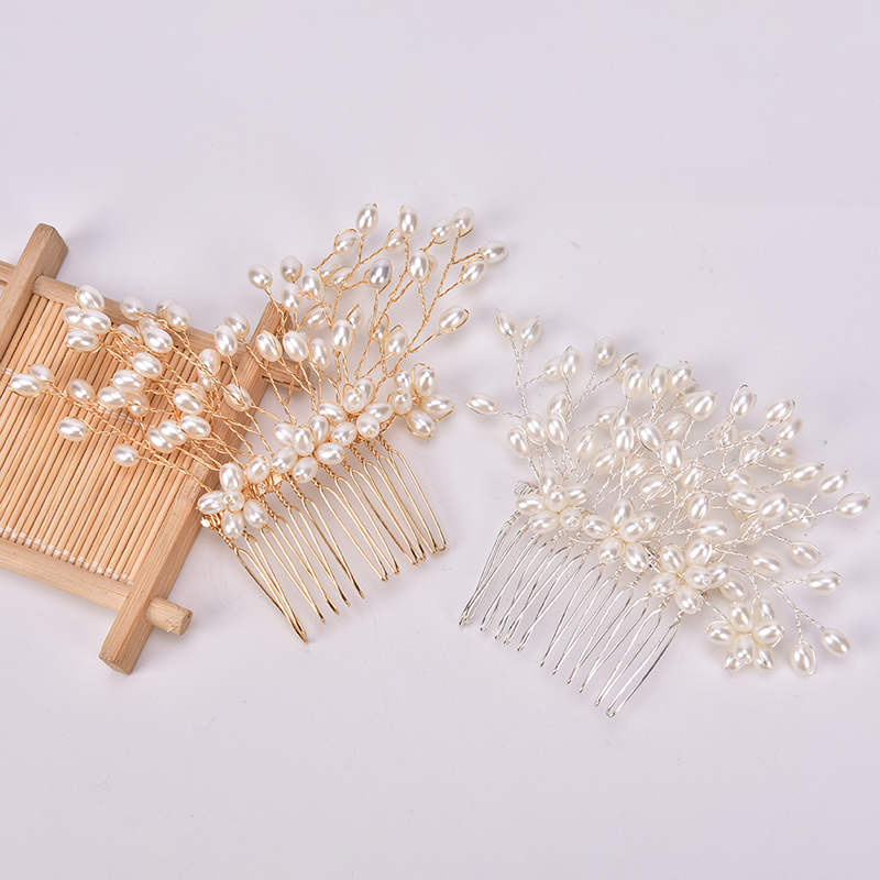Bride Handmade Pearl Hair Comb Silver Gold Pearls Tiara Hair Accessories Wedding Hair Jewelry Party Bridal Women Hairpin Crown