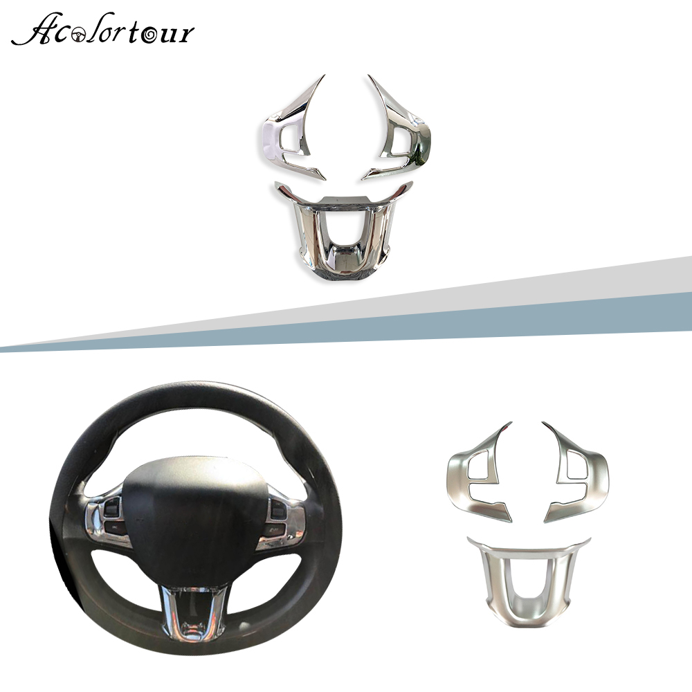 for Peugeot 208 2008 chrome steering wheel sticker flying wheel trim car styling multifunciton button accessories
