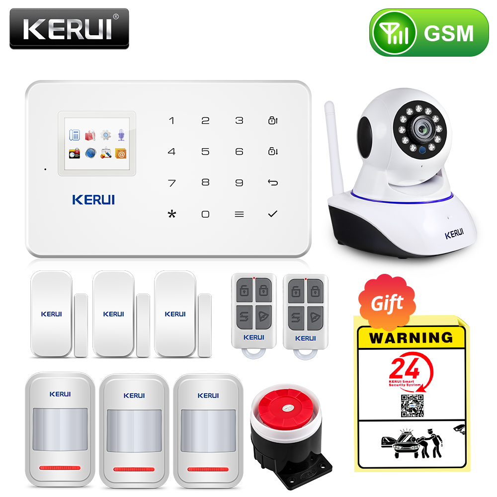 KERUI Wireless Home WIFI GSM Security Alarm System Kit APP Control With Auto Dial Motion Detector Sensor Burglar Alarm System title=