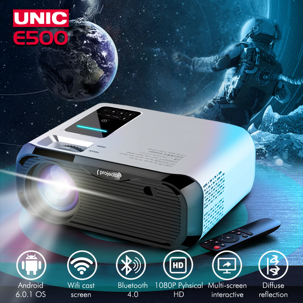 E500 WIFI Android projector Full HD Projector 1280*800 7000lumens Cinema Proyector Beamer for Android WiFi hdmi VGA AV USB port