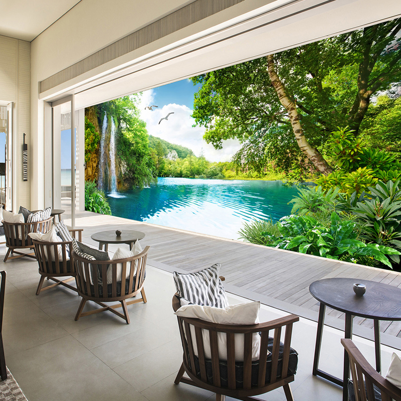 Jointless Custom 3D Wall Mural Wallpaper Home Decor Green Mountain Waterfall Nature Landscape 3D Photo Wall Paper Living Room