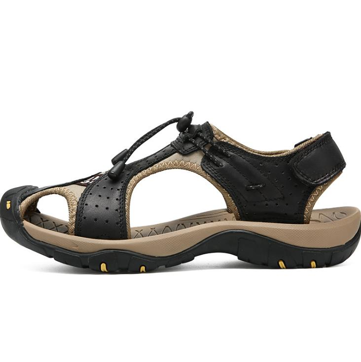 Baotou sandals men/'s beach shoes leather outdoor sandals foreign trade men/'s shoes
