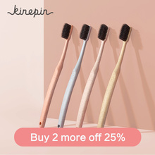 KINEPIN 4pcs Creative Adult Soft Toothbrush Portable Wheat Straw Tooth Cleaning Charcoal Bristle Brush with Travel Storage Case