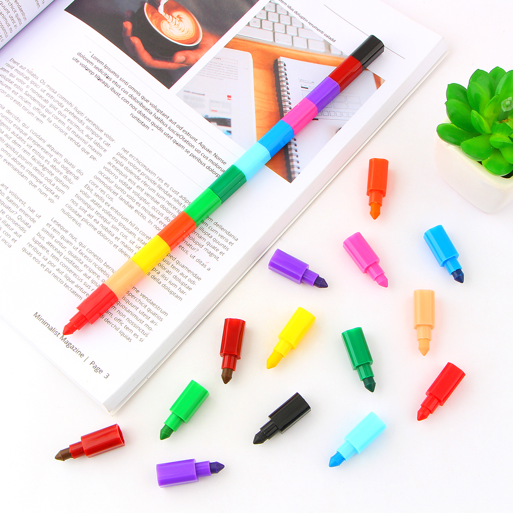 2Pcs 12 Colors Crayon Creative Building Blocks Crayon Cute Kawaii Graffiti Pens For Painting Korean Stationery Student for kids