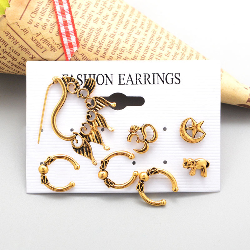 European and American style new bohemian retro elephant peacock earrings seven-piece personality trend earrings party gift