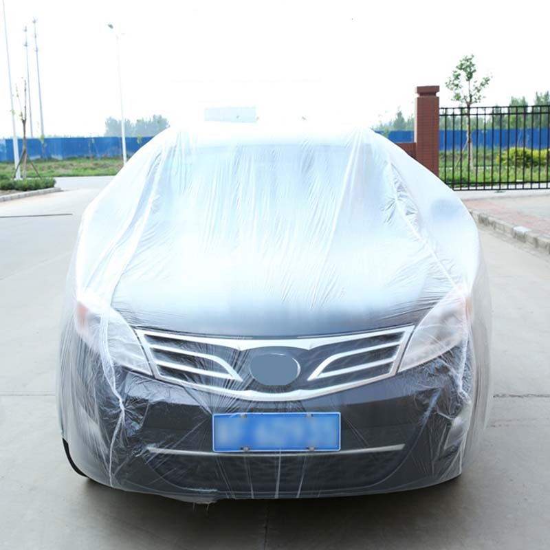 Clear Plastic Temporary Disposable Universal SUV Car Cover Rain Dust Snow Garage title=