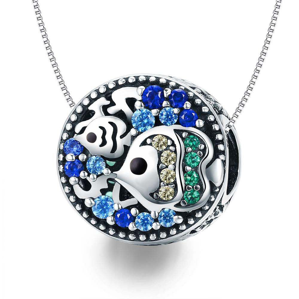 DALARAN 925 Sterling Silver Charms Blue Moon Star Beads For DIY Enamel Fine Jewelry Making Fit Original Charm Bracelets Necklace title=