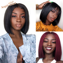 Wigs Bangs Short Bob Human-Hair Angel-Grace Lace-Front Pre-Plucked Straight Brazilian