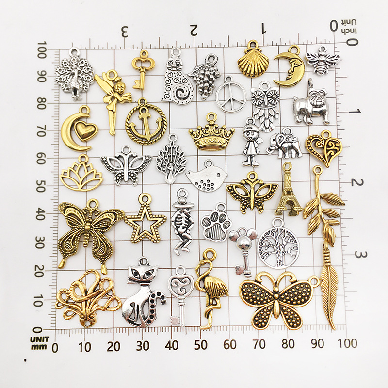 Vintage Mixed 20/40pcs Metal Animal Birds Charms Beads Handmade DIY Bracelet Pendant Neacklace Clips Jewelry Making Findings