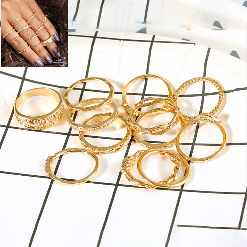 Multi-piece Women Finger Ring Sets Sweet Crystal Water Drop Bohemia Charm Ring Sets For Women Party Jewelry Gift Fashion