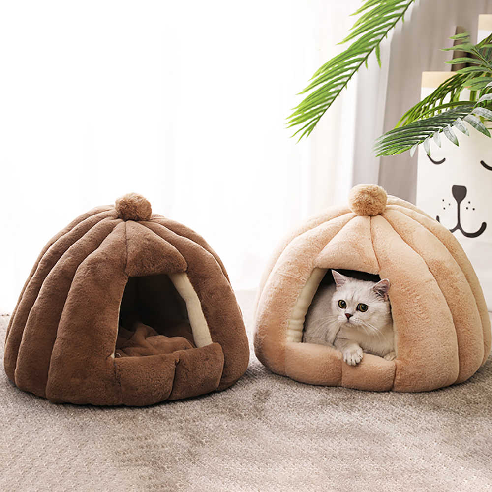Image result for Plush Cat Cave Bed For Small Dog Cats Mat Warm Pet Closed House Warm Hamster Kitten Kennel Puppy Foldable Nest Cat Supplies