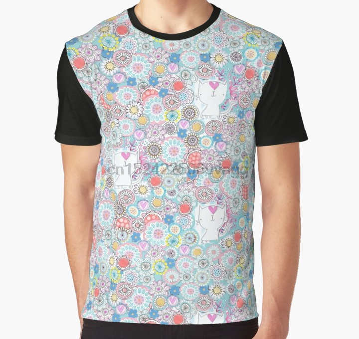 All Over Print T Shirt Men tshirt White cats hiding in the flowers Graphic T-Shirt thumbnail