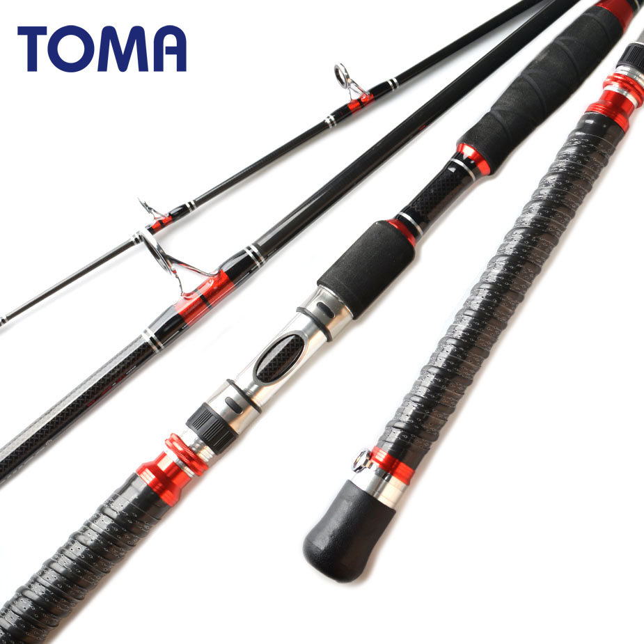 TOMA 1.8M 1.95M 2.1M Spinning Sea Fishing Rod Jigging Carbon Fiber 30 Ton Saltwater Sea Bass Trolling Boat Fishing Rod 30-50Lb