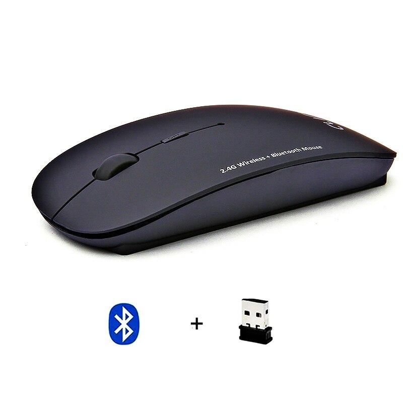 Bluetooth 5,0 + 2,4 Ghz Беспроводная Двухрежимная беспроводная мышь 2 в 1 ультра-тонкая эргономичная Портативная оптическая мышь 1600 DPI