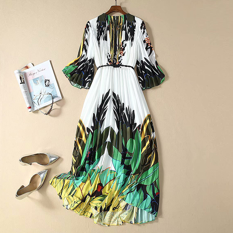 Long Dress High Quality Spring 2020 New Women/'S Fashion Party Casual Vintage Elegant Chic Gentlewoman Pleated Hemp Print Dresses