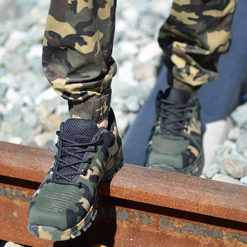 LITTHING Men Safety Shoes Men Work Boots Camouflage Steel Toe Boots Men Outdoor Work Shoes Air Mesh Safety Boots Casual Shoes