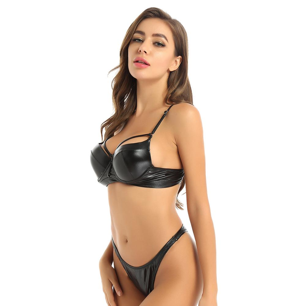 Womens Latex Leather Swimsuit Swimwear Summer Bathing Suit Set Push up Padded Underwired Bra Top with High Cut Thong Bikini