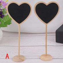 Mini Small Wooden Chalk Blackboard Wedding Kitchen Restaurant Signs Chalkboard Writing Notice Message Paint Wood Board (Heart)(China)