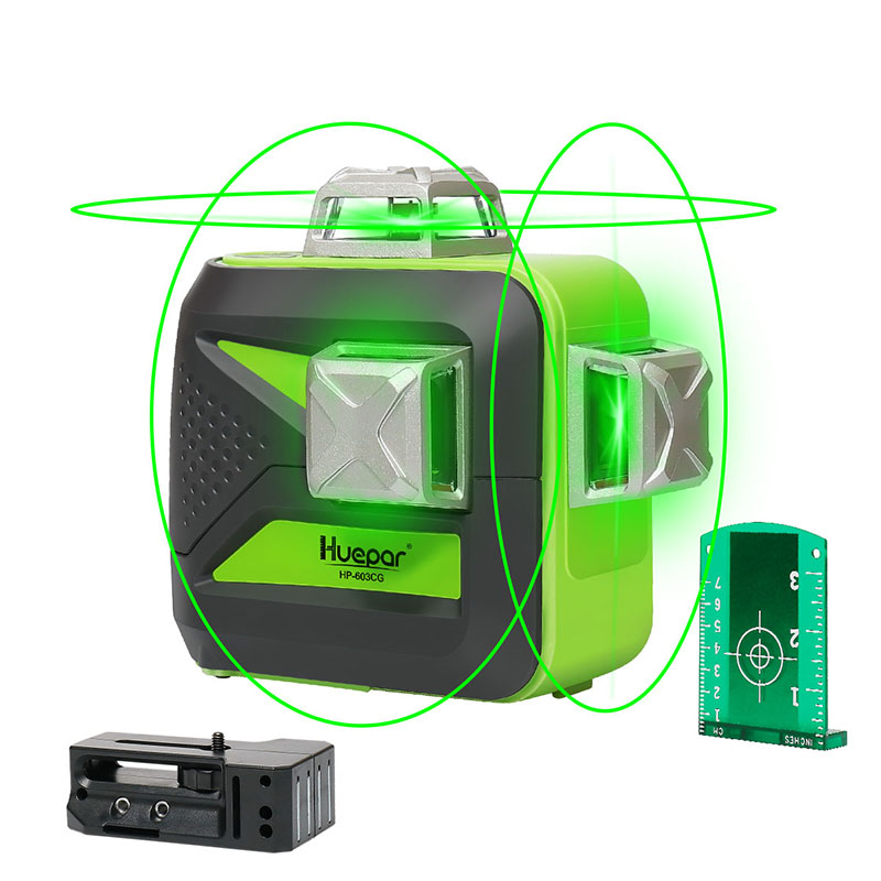 Лазерный уровень Huepar, самонивелирующийся 12-линейный зеленый 3D-лазер перекрестный с вращением на 360, вертикальный и горизонтальный, зарядка от USB, сухой и литий-ионный аккумулятор