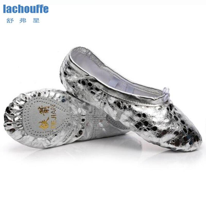 Zapatos de Danza del Vientre Slip-on Suela Dividida Plana para Chicas Mujeres Bailando Ballet de Cuero Plateado l/írico