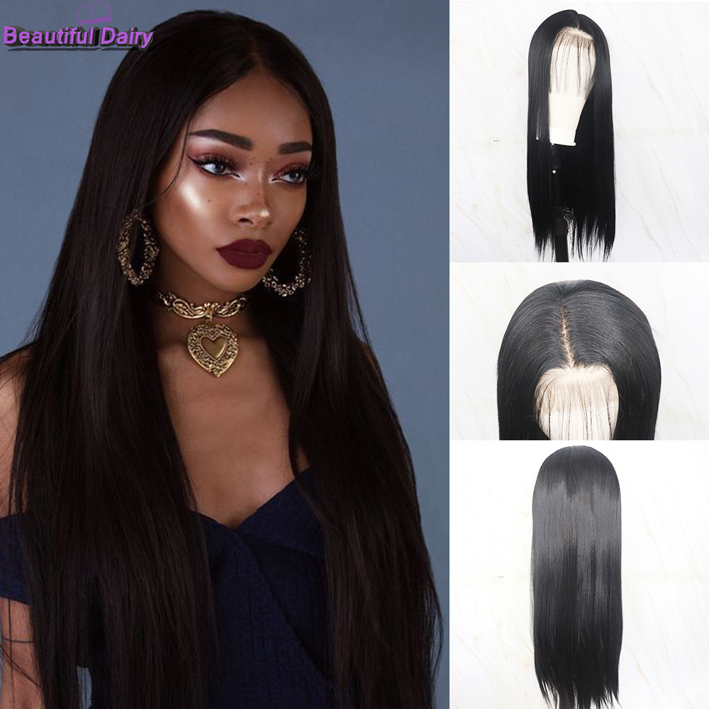 Beautiful Diary 13x6 Straight Natural Black Braided Synthetic Wigs Gluesless Synthetic Lace Front Wig With Baby Hair