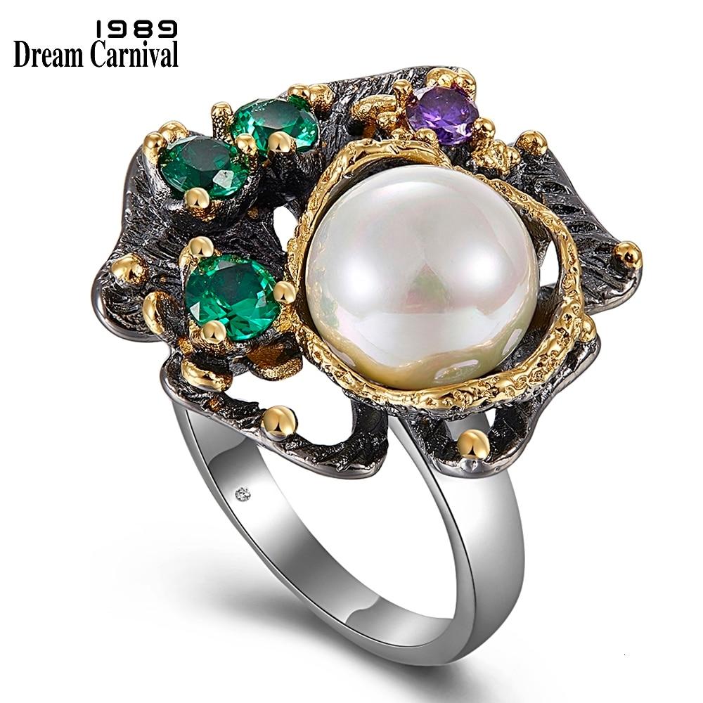 WA11637 pearl flower ring women vintage gothic stone jewelry (1)