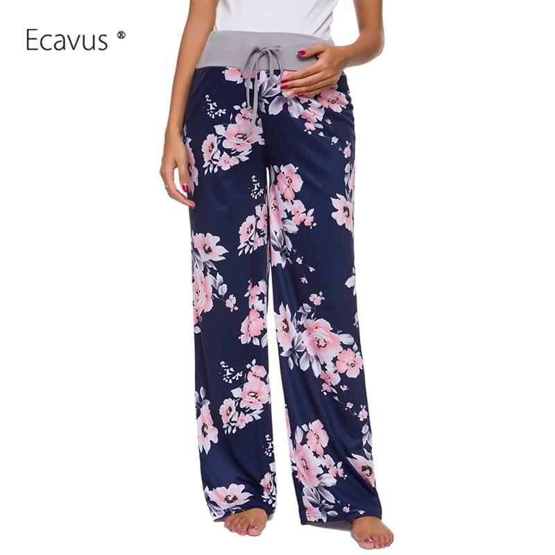 Womens Floral Pyjama Lounge Drawstring Pants Maternity Sleepwear High Waist Comfy Pants