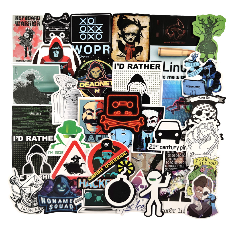 50pcs/pack Hacker Programmer Network Intrusion Graffiti Stickers For Furniture Wall Desk DIY Box Car Computer Guitar Motorcycle