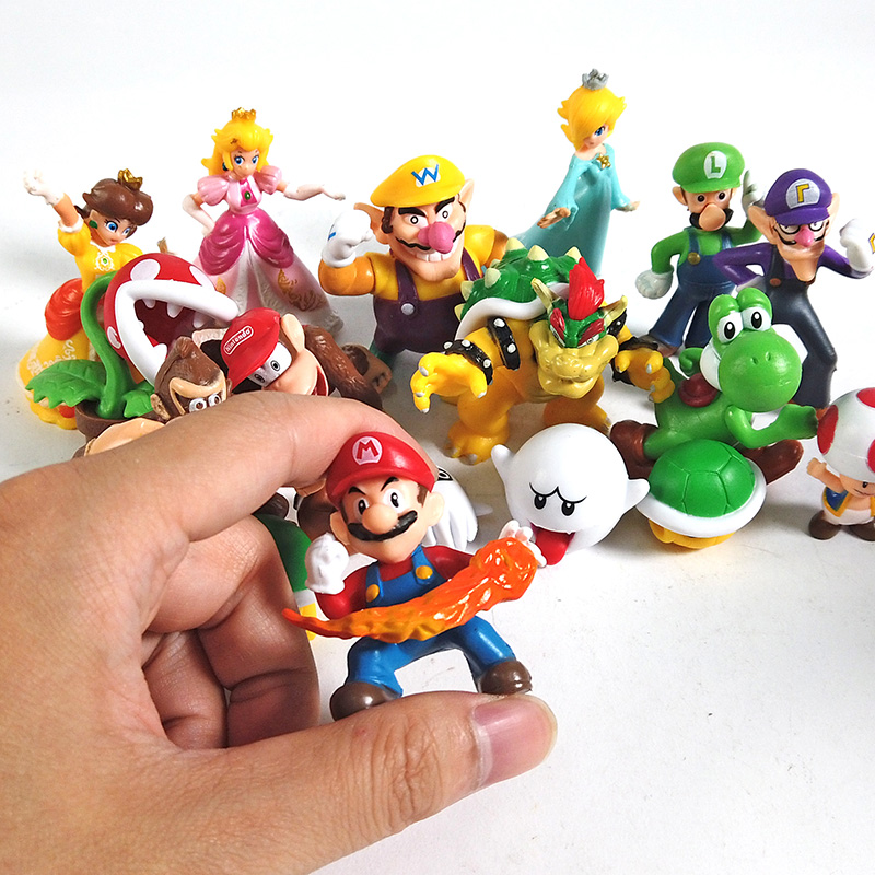 22pcs//set 3~8cm Super Mario Bros Mini PVC Figures Toy Mario Luigi Mushroom