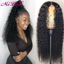Human-Hair-Wigs Curly Glueless Lace-Front Pre-Plucked Mi-Lisa Remy Black-Women with Peruvian