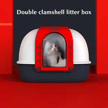 Double Flip Litter Box Fully Enclosed Oversized Cat Toilet