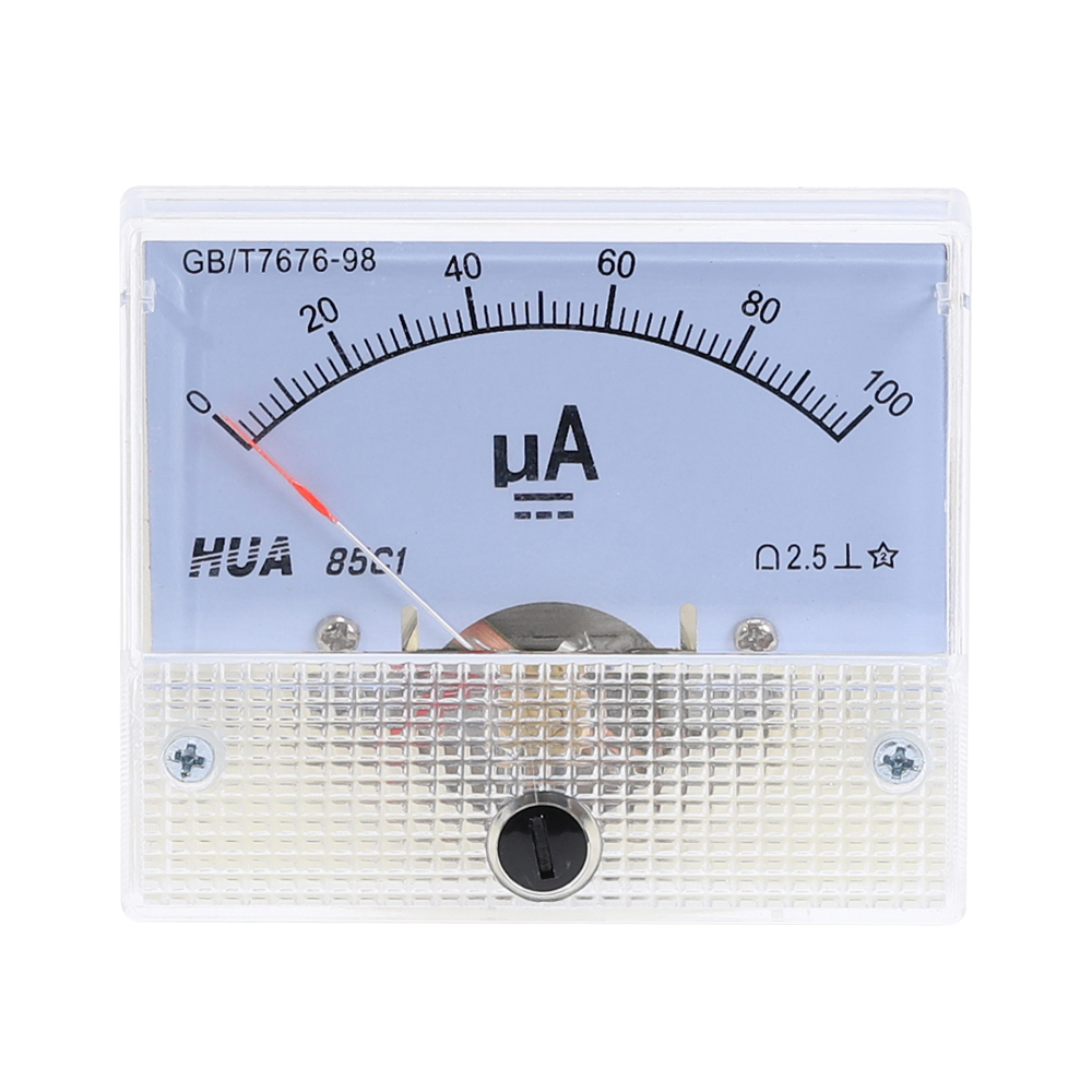 DC 85C1-UA Analog Current Meter 30uA 50uA 100uA 200uA 500uA  Analog Ammeter Panel Current AMP Meter Gauge Mechanical Amperemeter