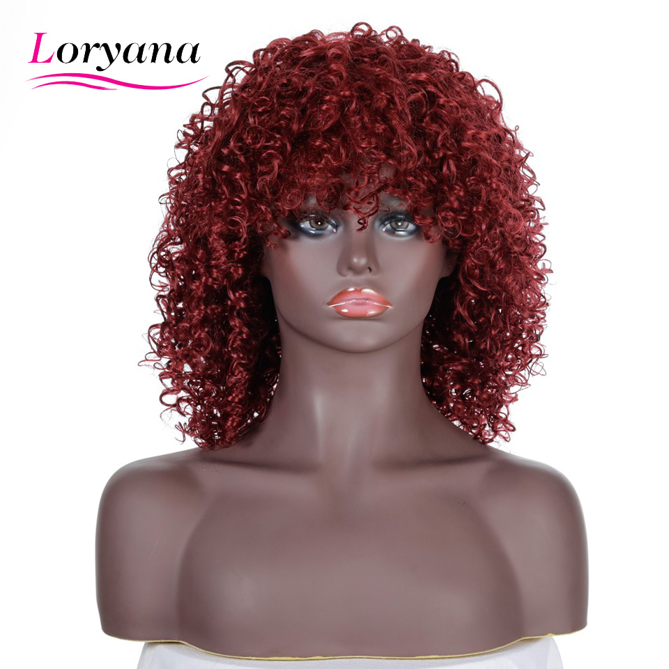 Loryana Short Bob Synthetic Wigs for Black Women Kinky Curly Wigs Fashion natural high temperature silk chemical fiber Cospaly