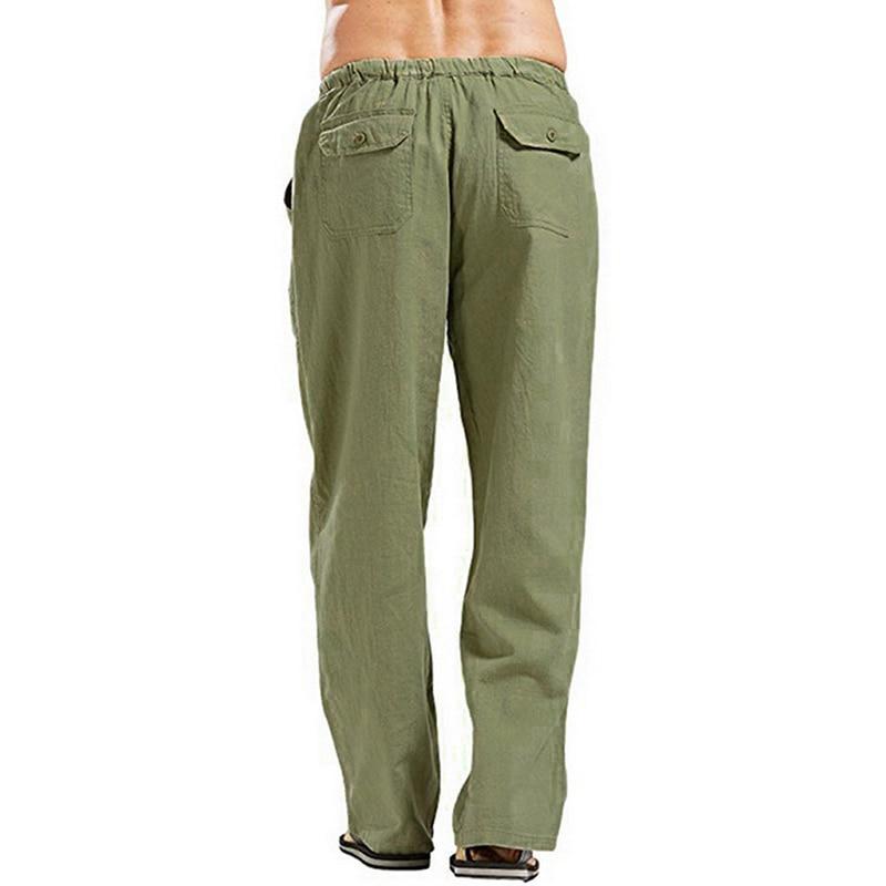 FRPE Men Fashion Elastic Waist Casual Solid Drawstring Pocket Mid Pants