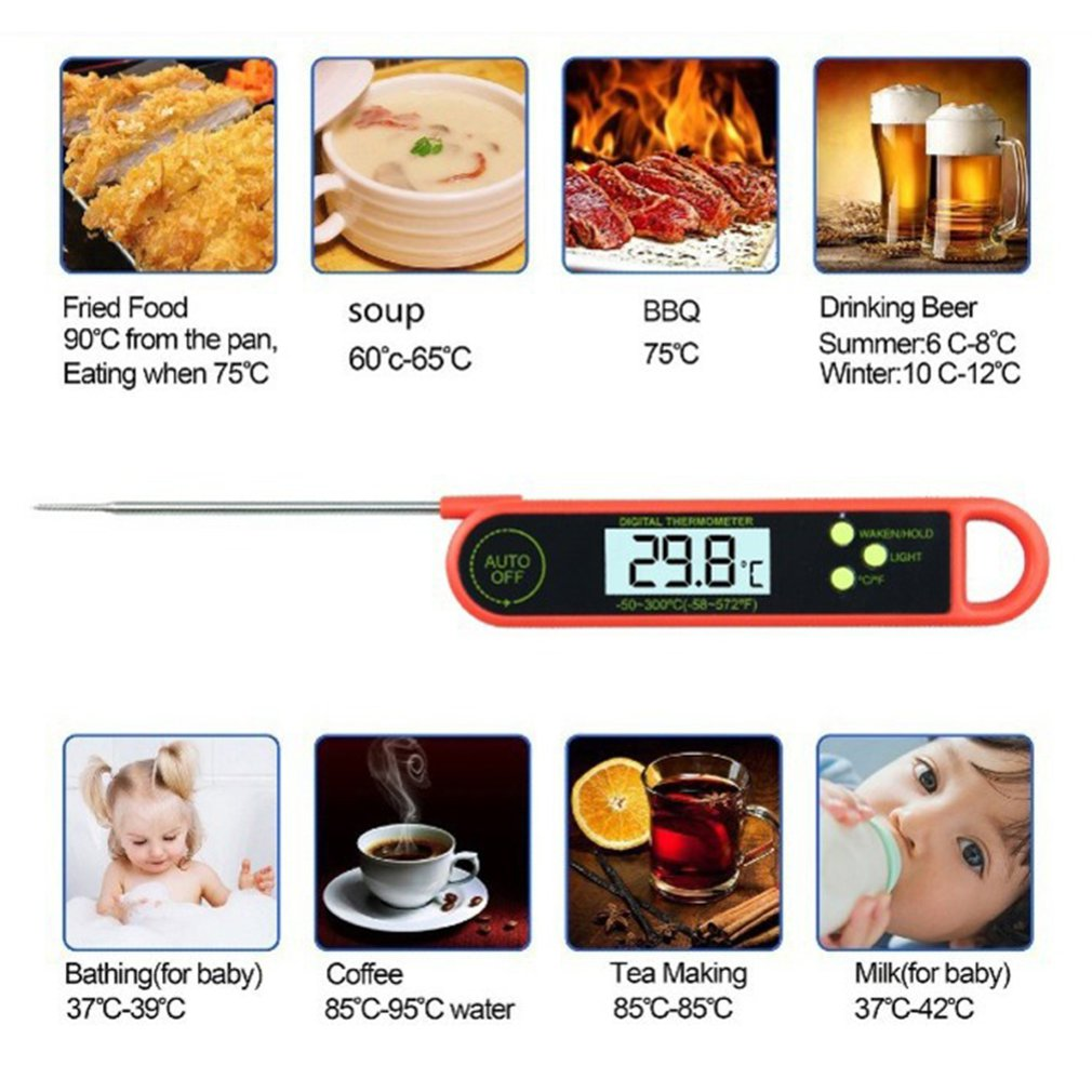 Luminous Folding Electronic Thermometer Kitchen Digital Food Thermometer Meat Cake Candy Fry Grill Dinning Household