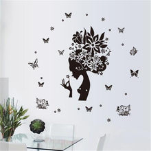 Black Butterfly Girl Silhouette 3D Wall Sticker Living Room Bedroom Wall Decoration Anime Poster Home Decor(China)