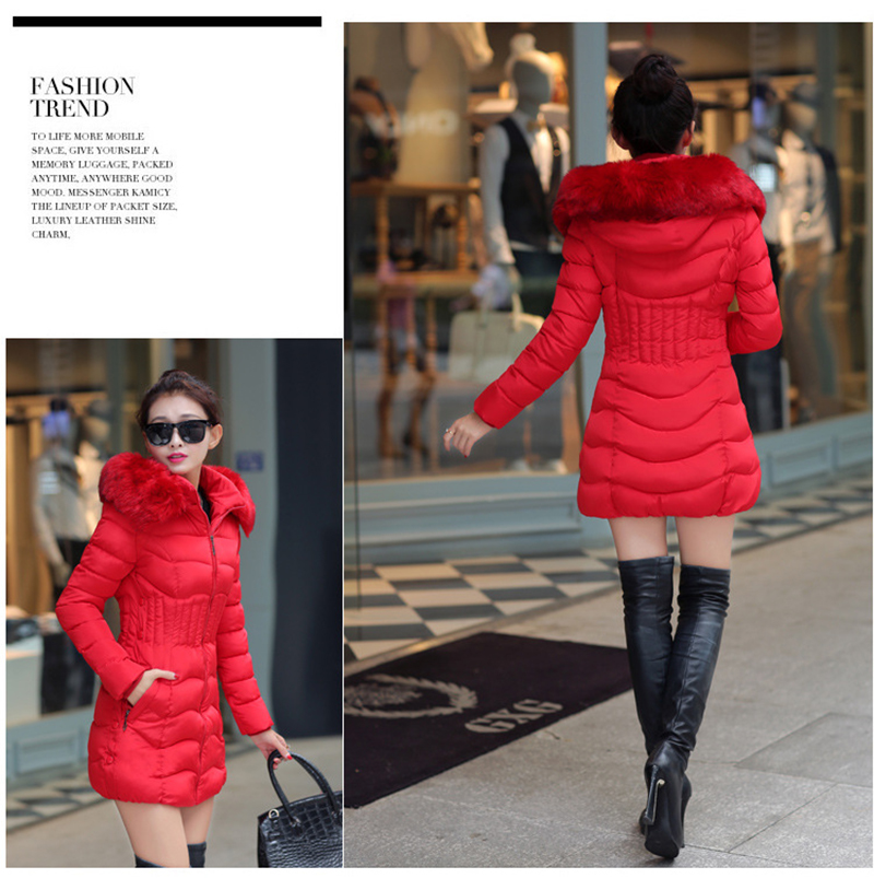Winter Long Women Coats Parkas Slim Pleated Black Female Coat Outwear Fashion Disassembled Hooded Cotton Women Jackets MLD1271 10