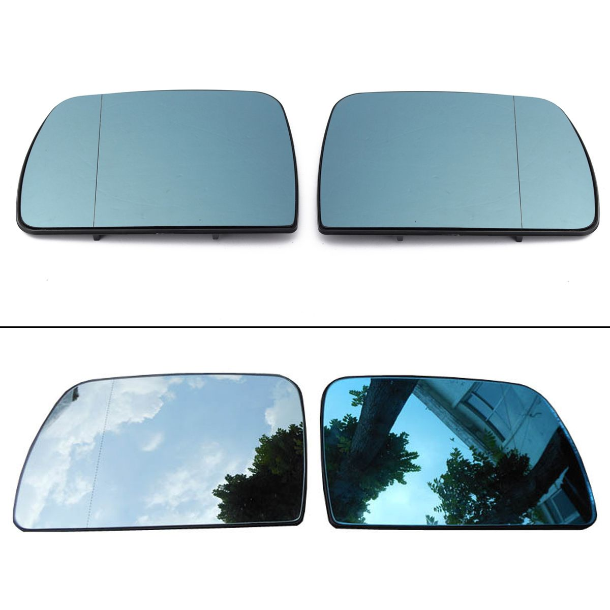 Pair Heated Wing Mirror Wide Angle Glass Left+Right Fit for BMW X5 E53 2000-2006