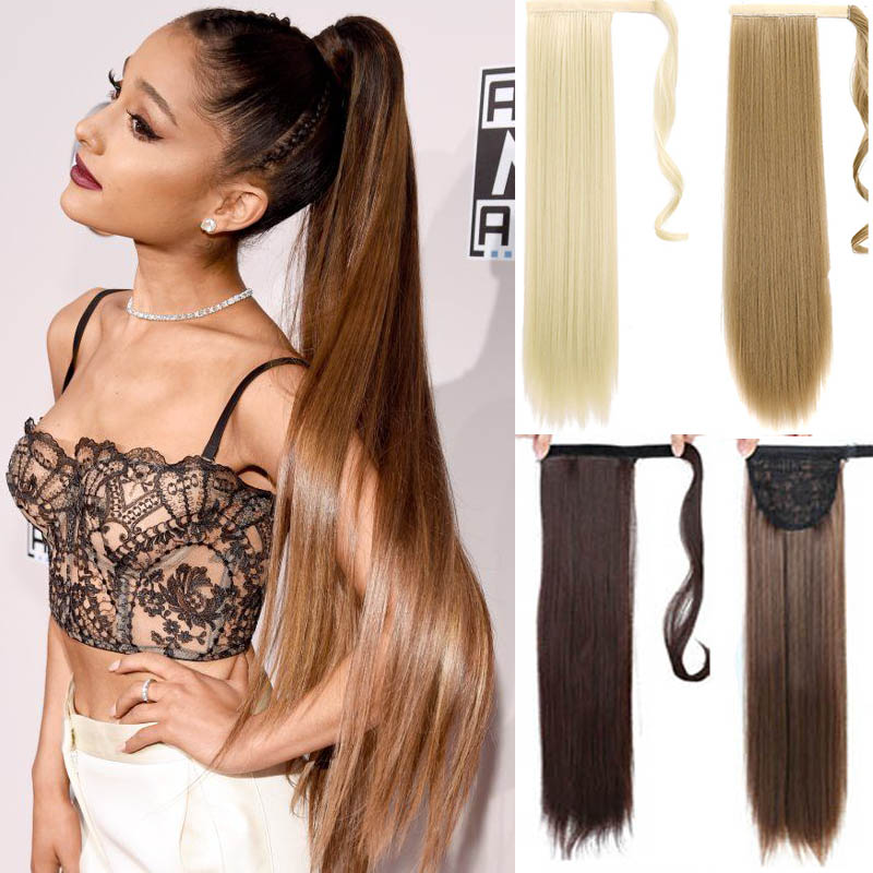 Ponytail-Hairpieces Hair-Extension Silky Drawstring Clip-In AOOSOO Synthetic Straight title=