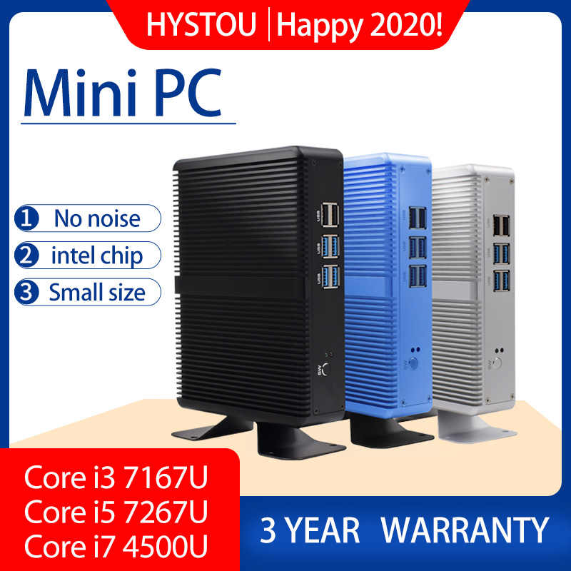 Core i5 7200U i7 4500U HYSTOU Мини ПК Windows 10 HDMI VGA двойной порт мини HTPC мини компьютер Linux i3 7167U 4K TV box PC