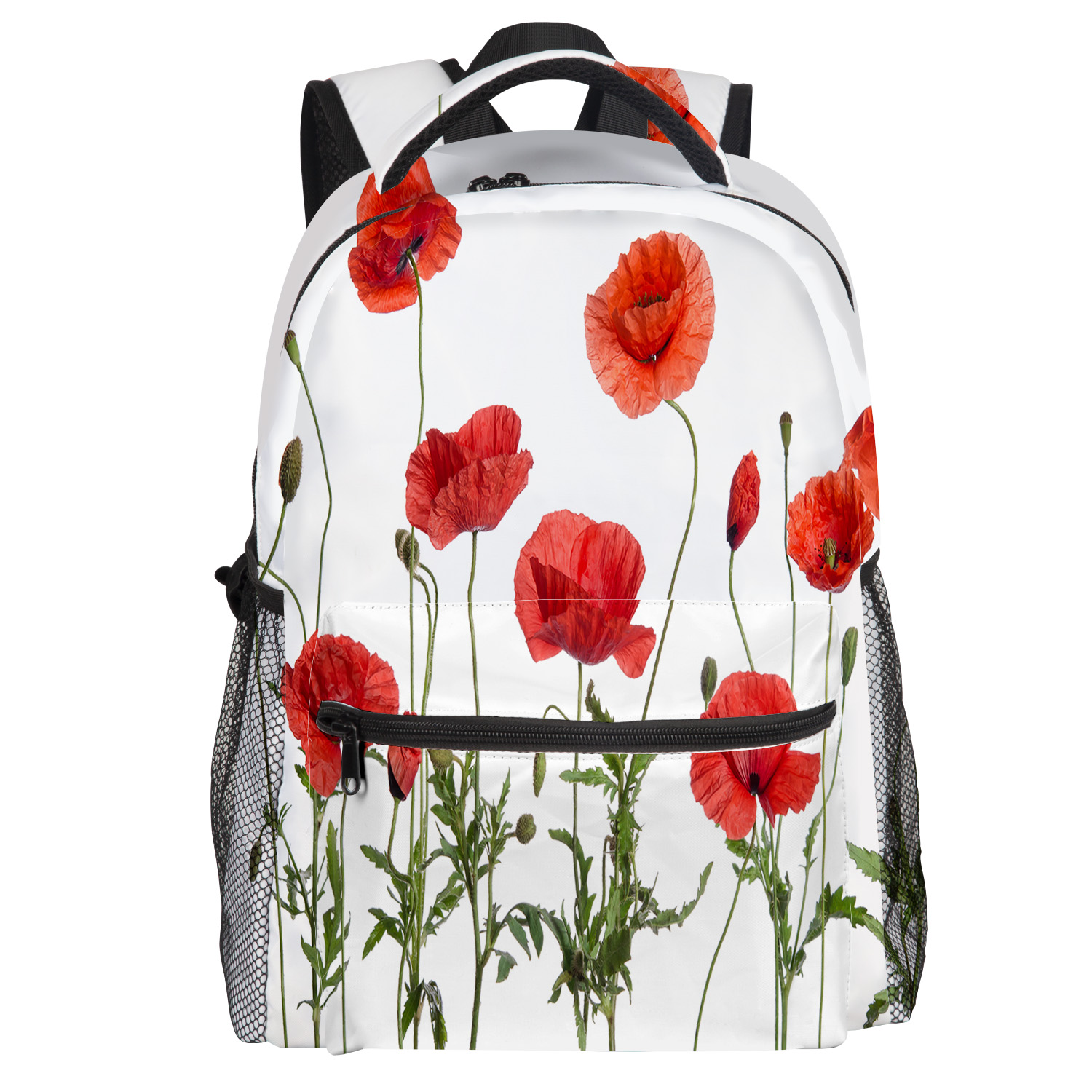 Red Corn Poppy Backpack College Students Wear Resistance Laptop Backpack Book Bag Casual Sports Bags School Bag